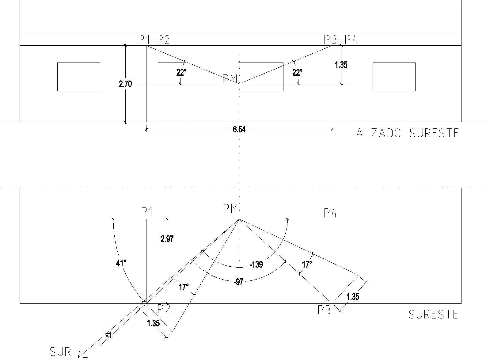 Cálculo del patrón de sombra en la fachada de un balcón