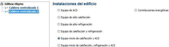 instalaciones del edificio en el certificado
