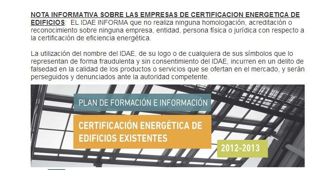 idae denunciara logotipo certificacion energetica