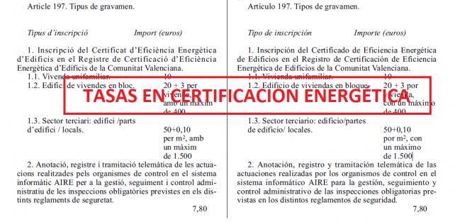 tasas certificados energeticos