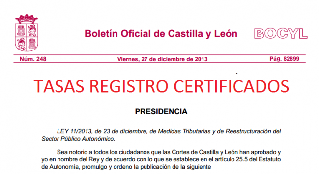 tasas registro certificado castilla leon
