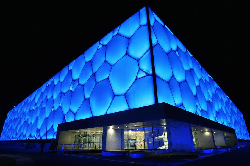 arquitectura con plastico watercube