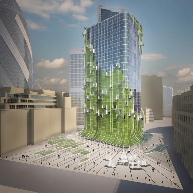 edificios oxigenados con hojas