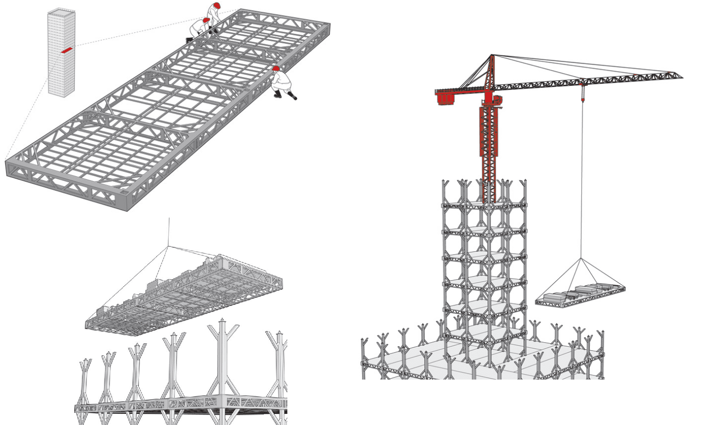 C mo construir una torre de 30 plantas en 15 d as for Estructura arquitectura