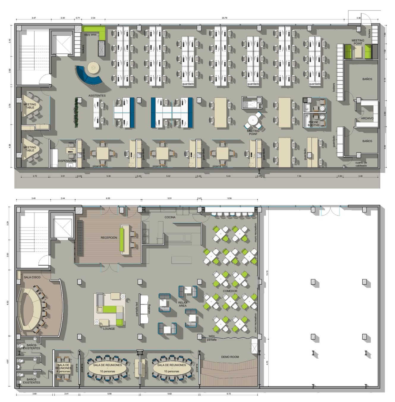 Los 10 dise os de oficinas m s cool for Planos de oficinas modernas
