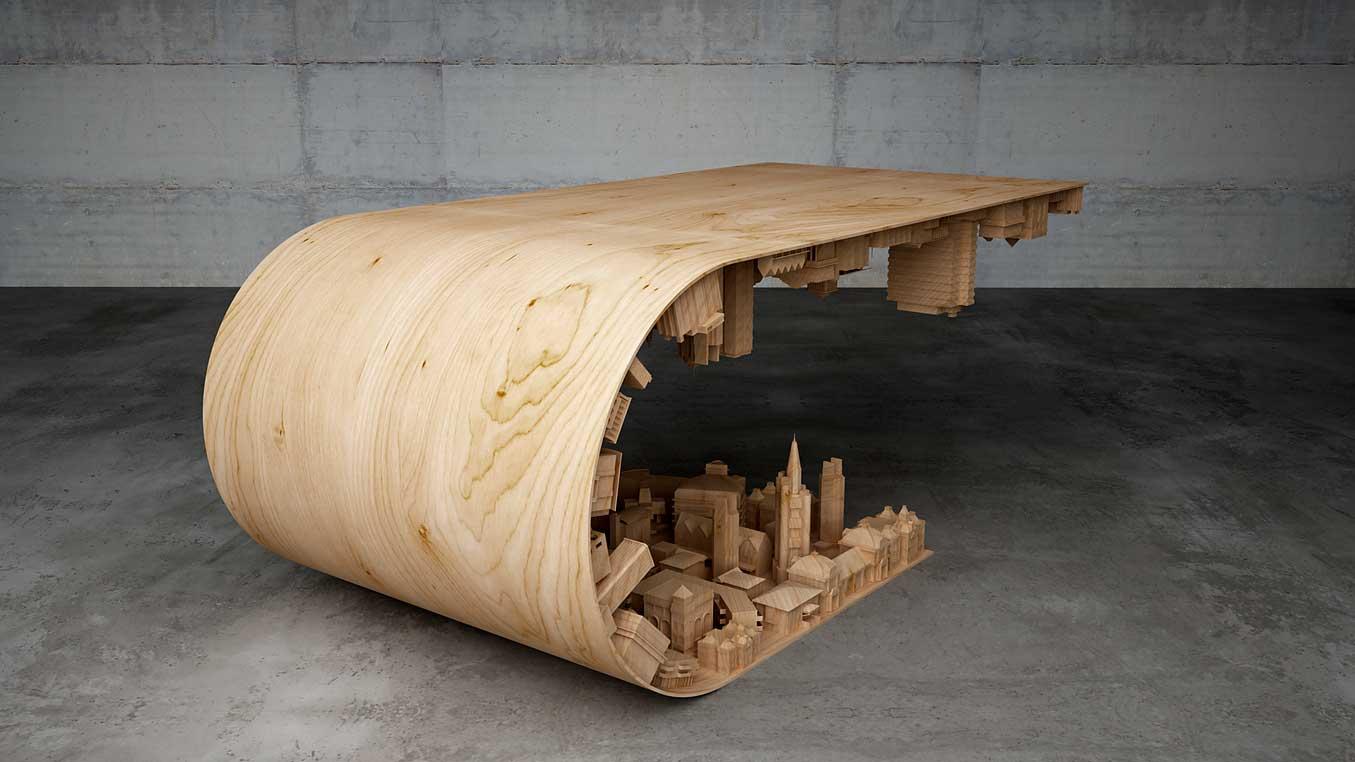 La mesa de centro perfecta para un arquitecto ovacen - Mesas madera diseno ...