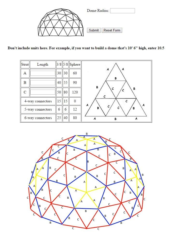 calculo domo geodesico
