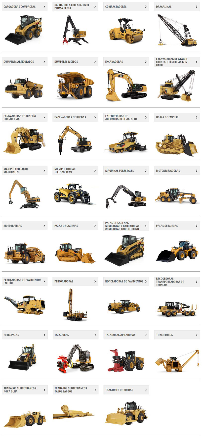 lista de maquinaria para construccion