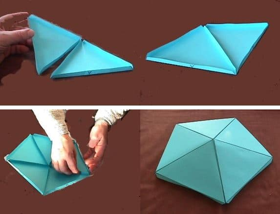 unir triangulos de papel
