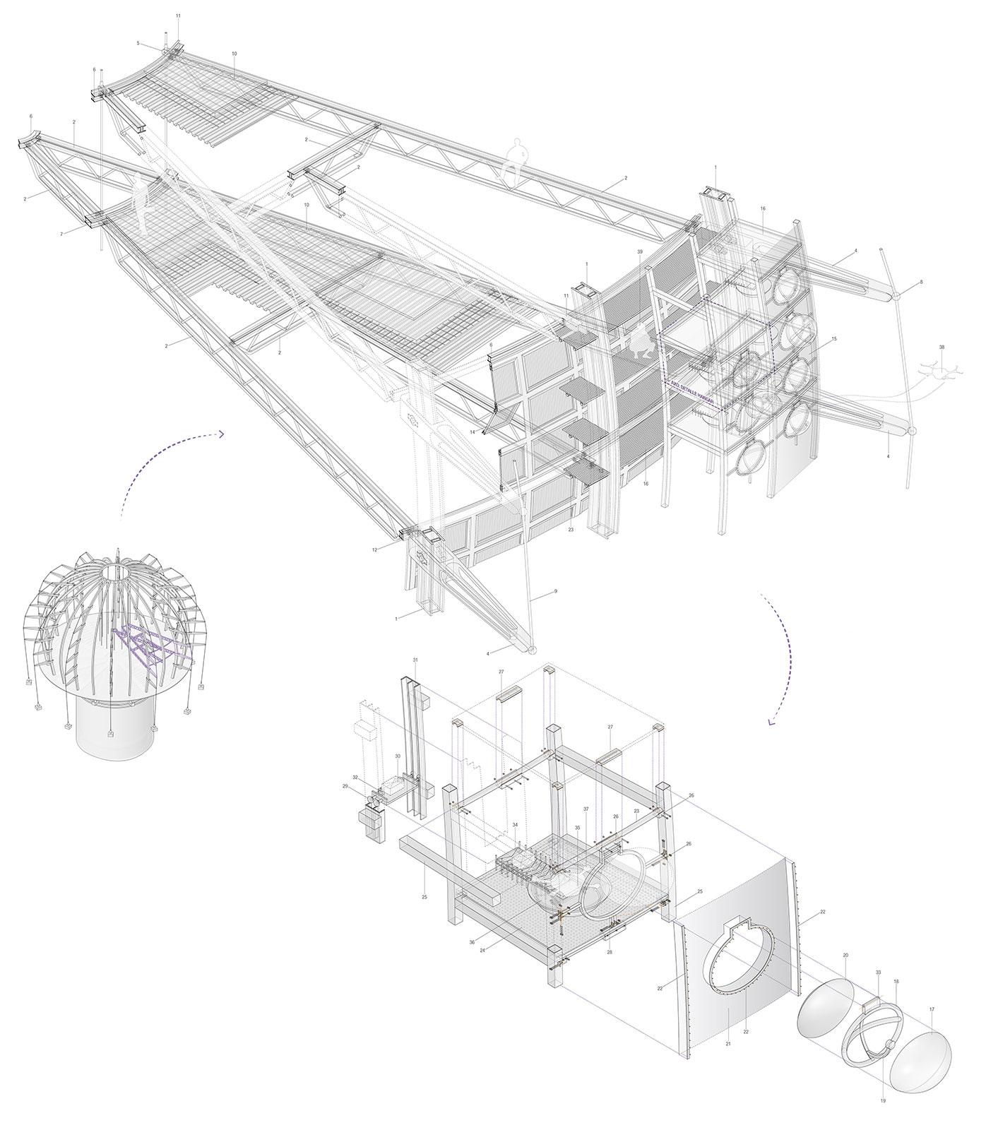 Axonométrica constructiva del edificcio