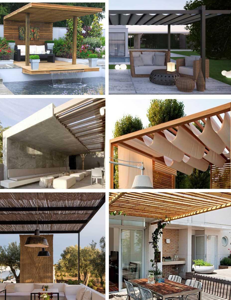 Tipos de p rgolas en jard n y porches de madera con for Tipos de toldos para patios