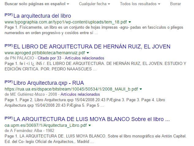ejemplo resultados libros arquitectura