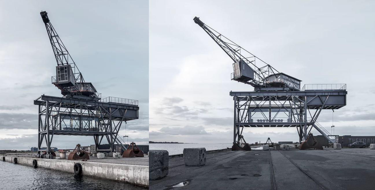 grua industrial puerto