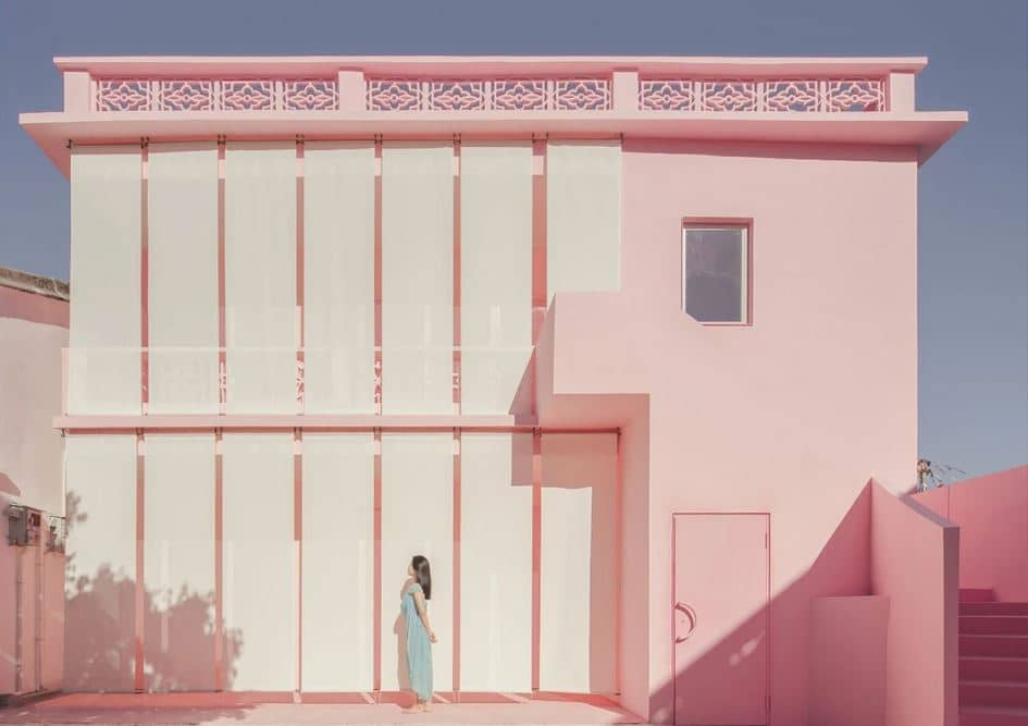 arquitectura de color rosa