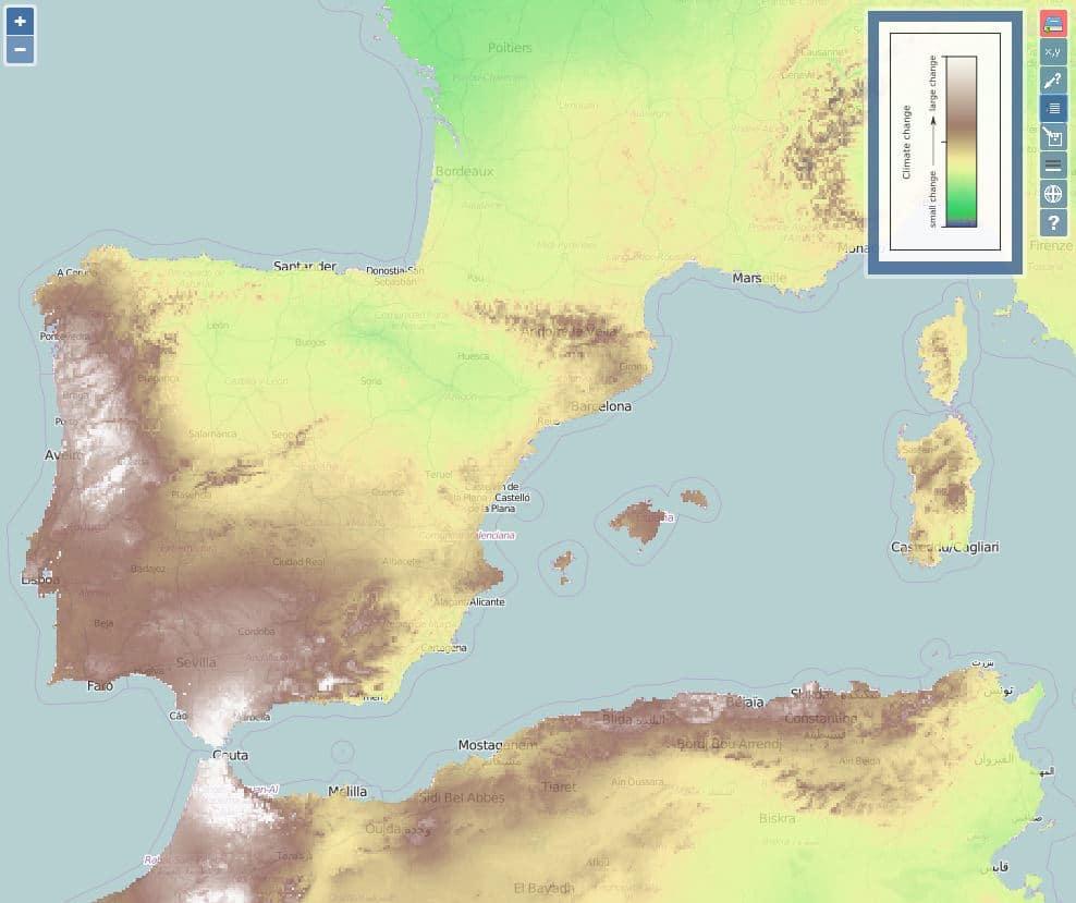 mapa cambio climático españa