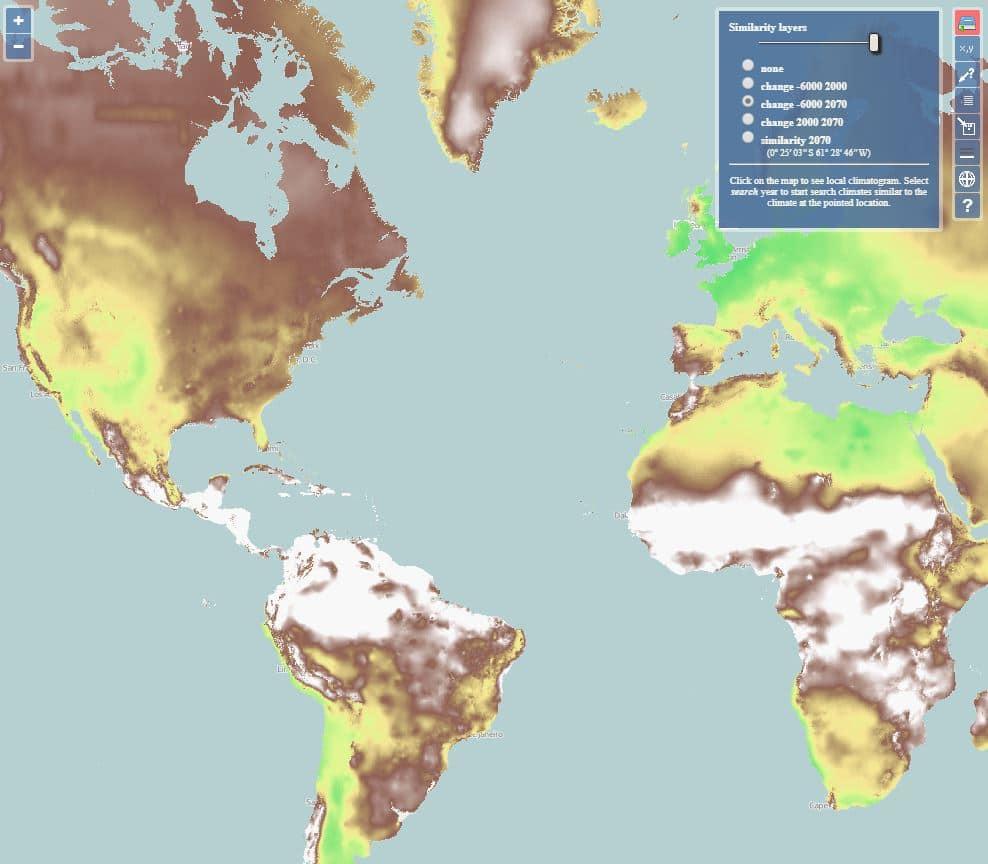 mapa del cambio climático tierra