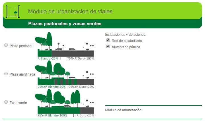 precio plazas peatonales y zonas verdes