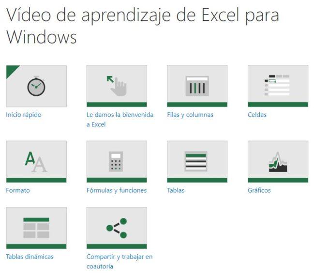 vídeos aprendizaje excel windows