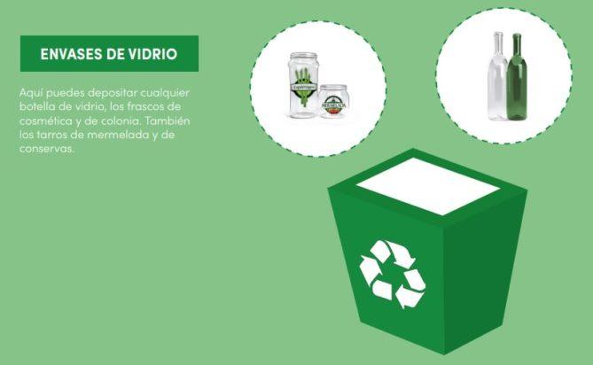 contenedor verde reciclaje vidrio
