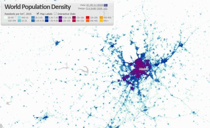 mapa sobre asentamientos humanos