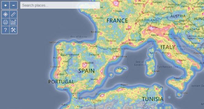 mapa polución lumínica ciudades