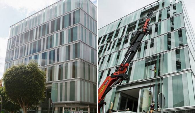 ejemplo de edificio con ventanas solares