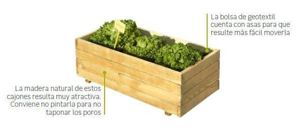 cajones de cultivo para huerto urbano