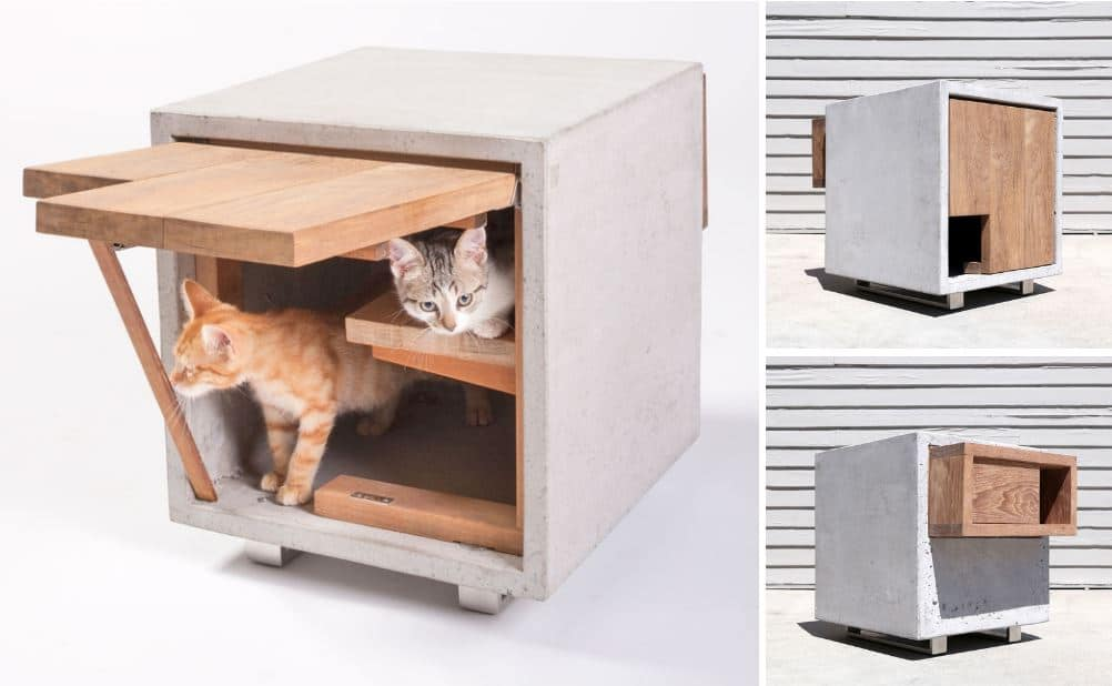 Houses and beds for cats with design - wooden house cats