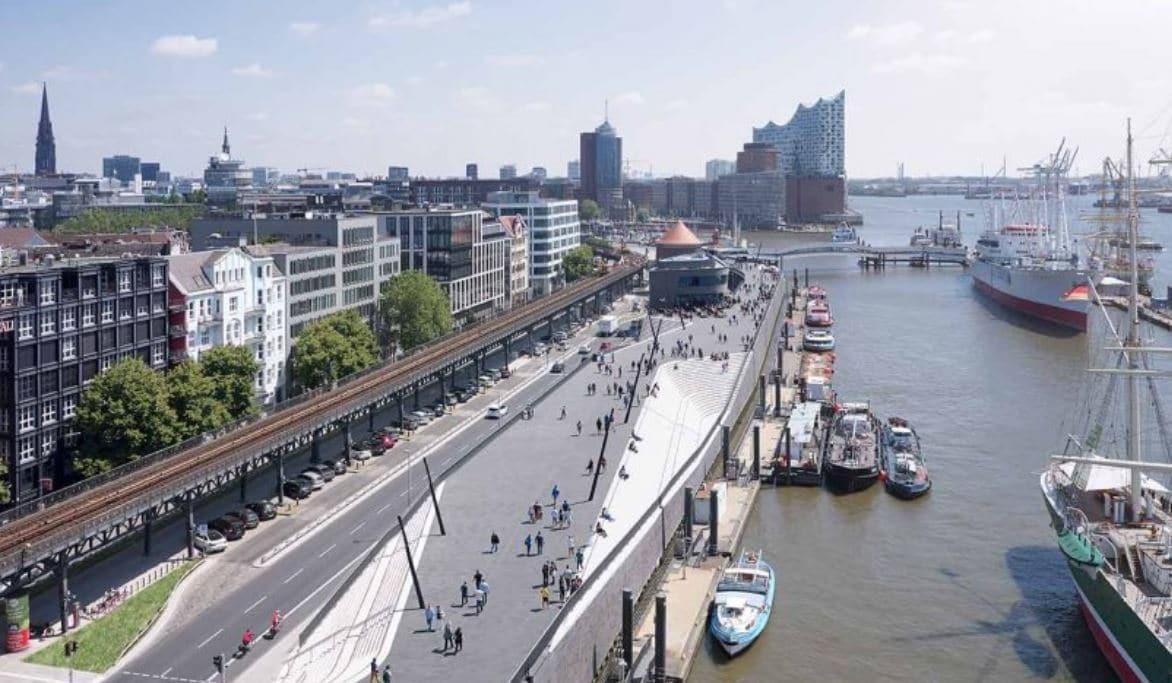 diques contra agua en puerto ciudad