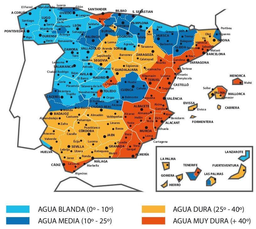 mapa dureza cal España