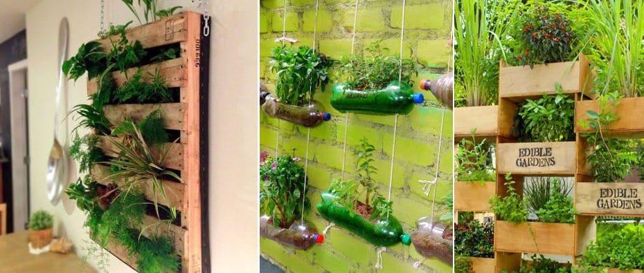 jardín vertical casero con elementos reciclados