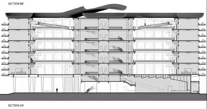 plano sección del edificio con detalles
