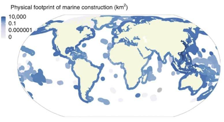 mapa huella física de la construcción marina
