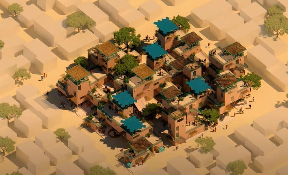 ciudad con casas plástico reciclado