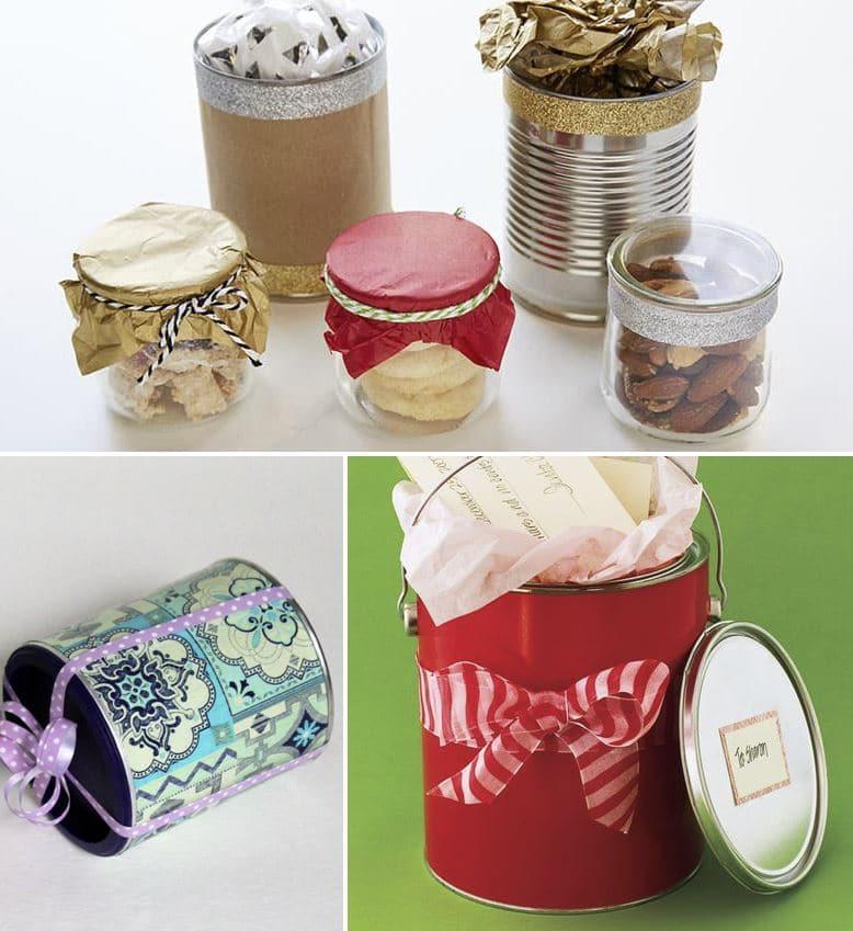 envoltorio ecológico regalo con latas
