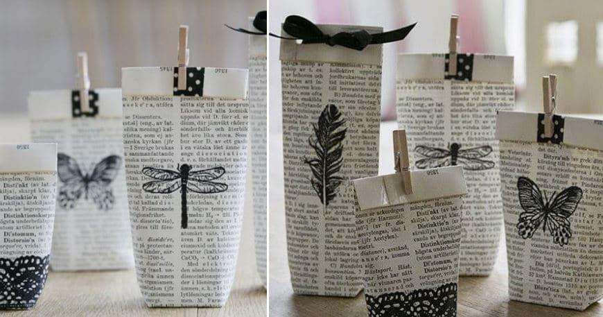 envoltorios con papel de periódico
