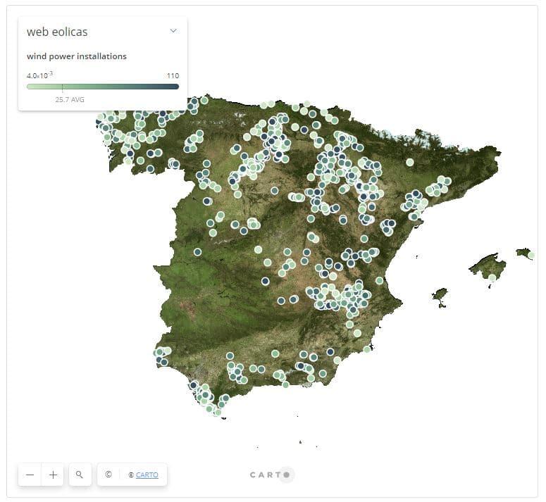 mapa instalaciones eólicas España