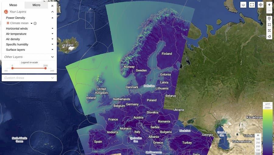 mapa potencial eólico Europa
