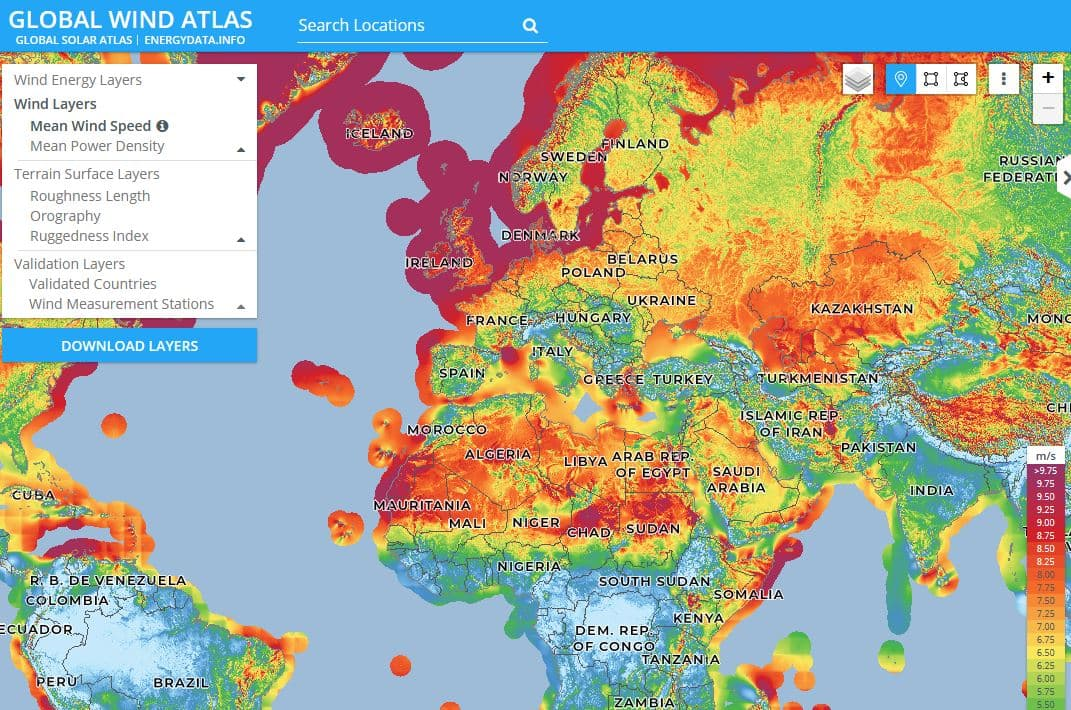 mapa potencial eólico a nivel global