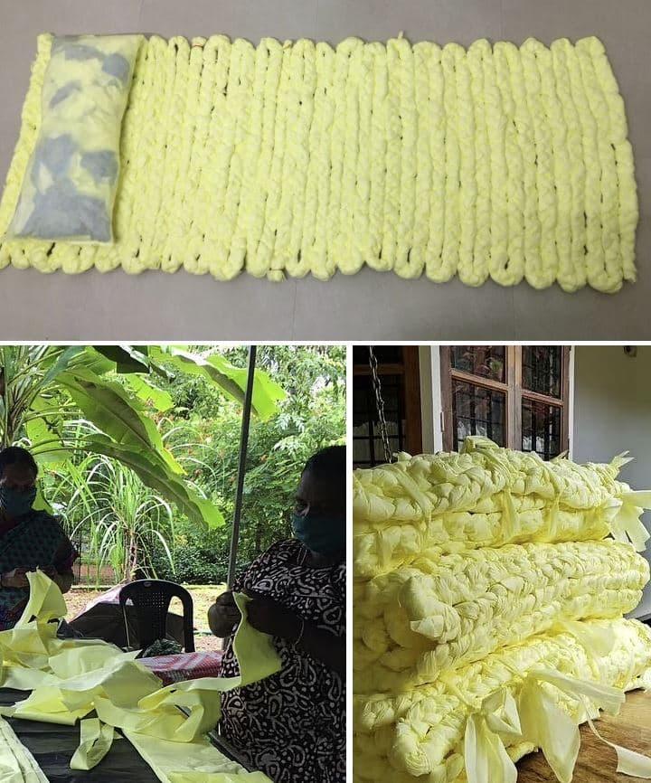 colchones reciclados con retales de tela