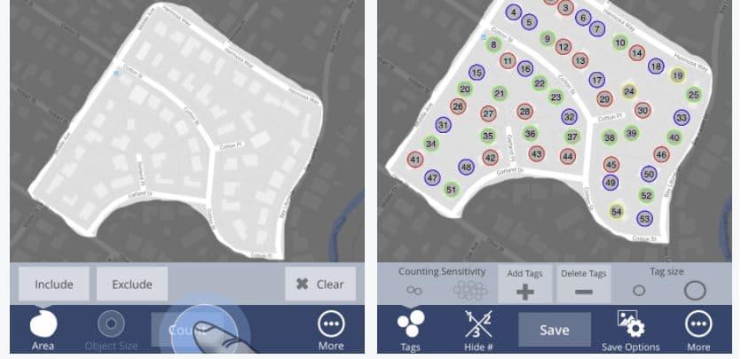 contabilizar casas automáticamente en google maps