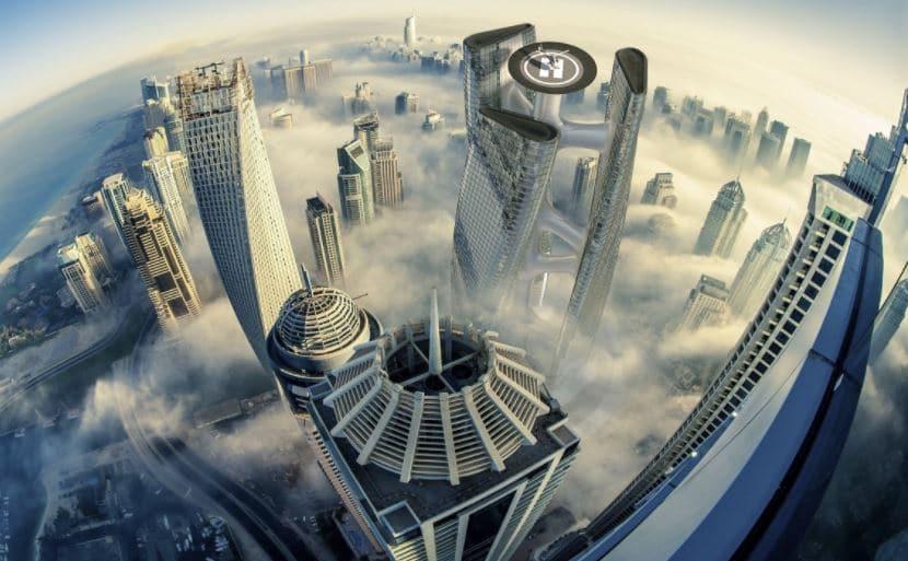 rascacielos en forma de turbina