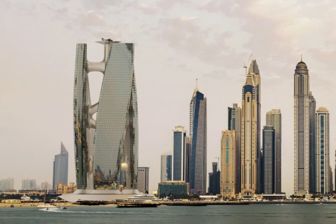 rascacielos eólico con forma de turbina