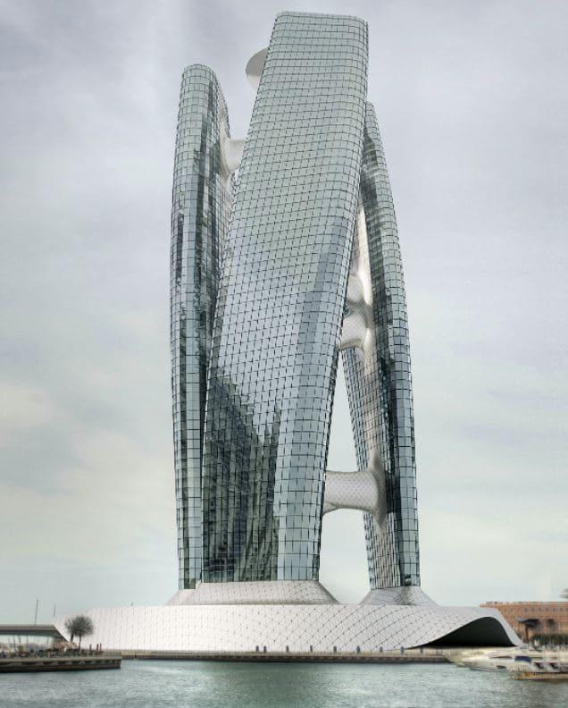 rascacielos gira con viento