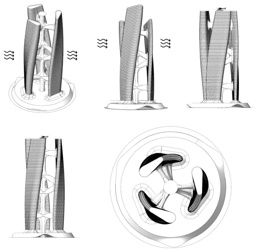 rascacielos giratorio con viento