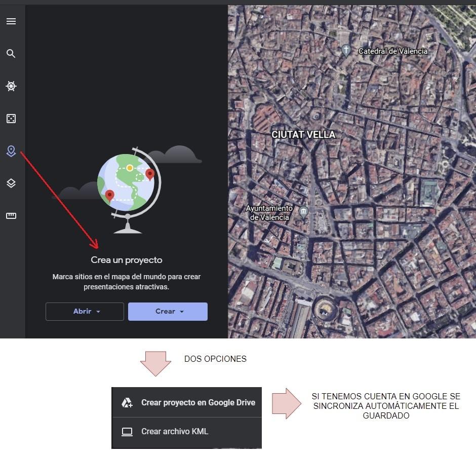 cómo crear un proyecto Google earth