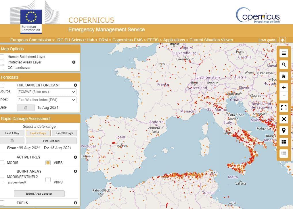 mapa interactivo incendios Europa